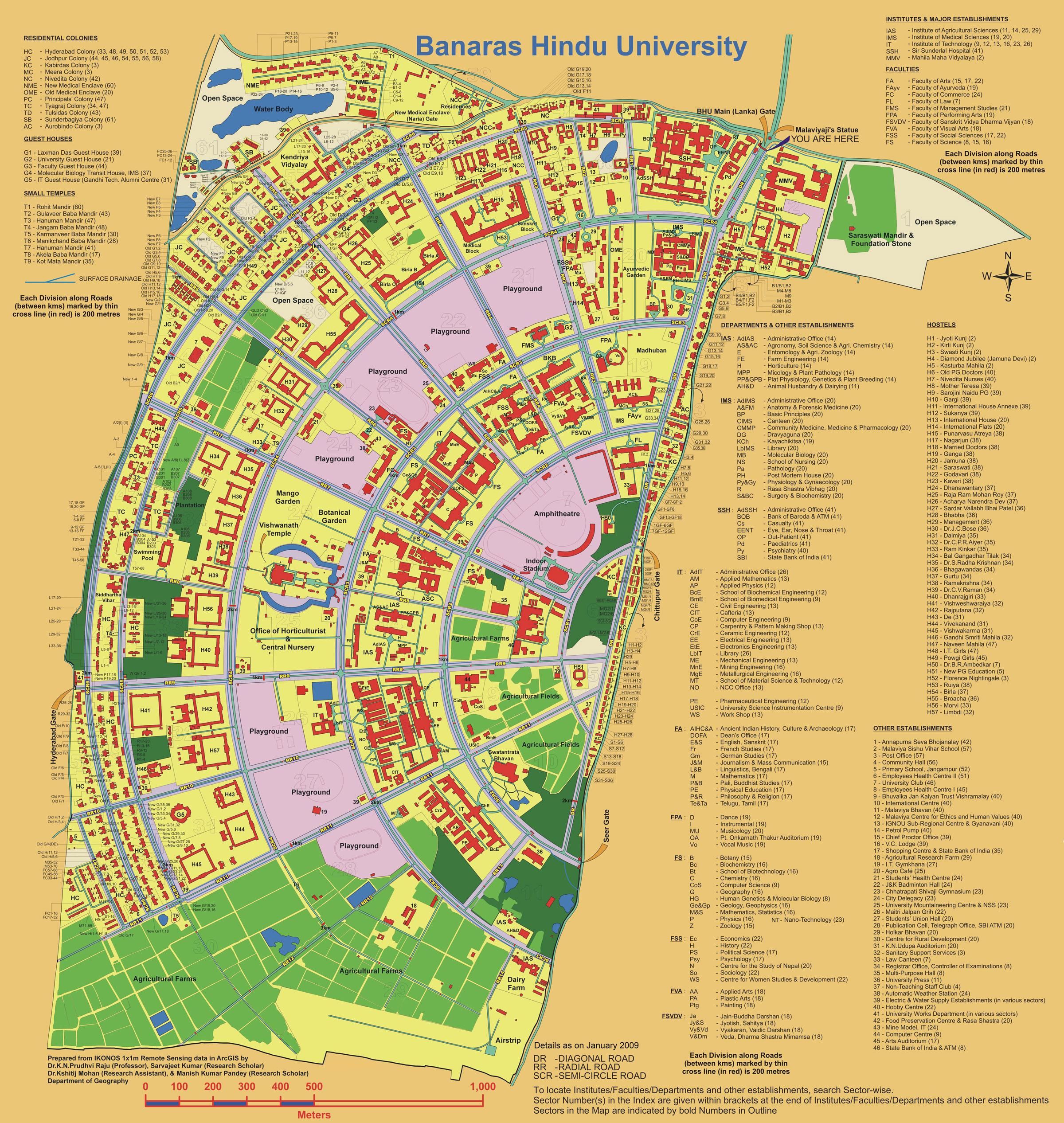 up main campus map Banaras Hindu University Varanasi up main campus map