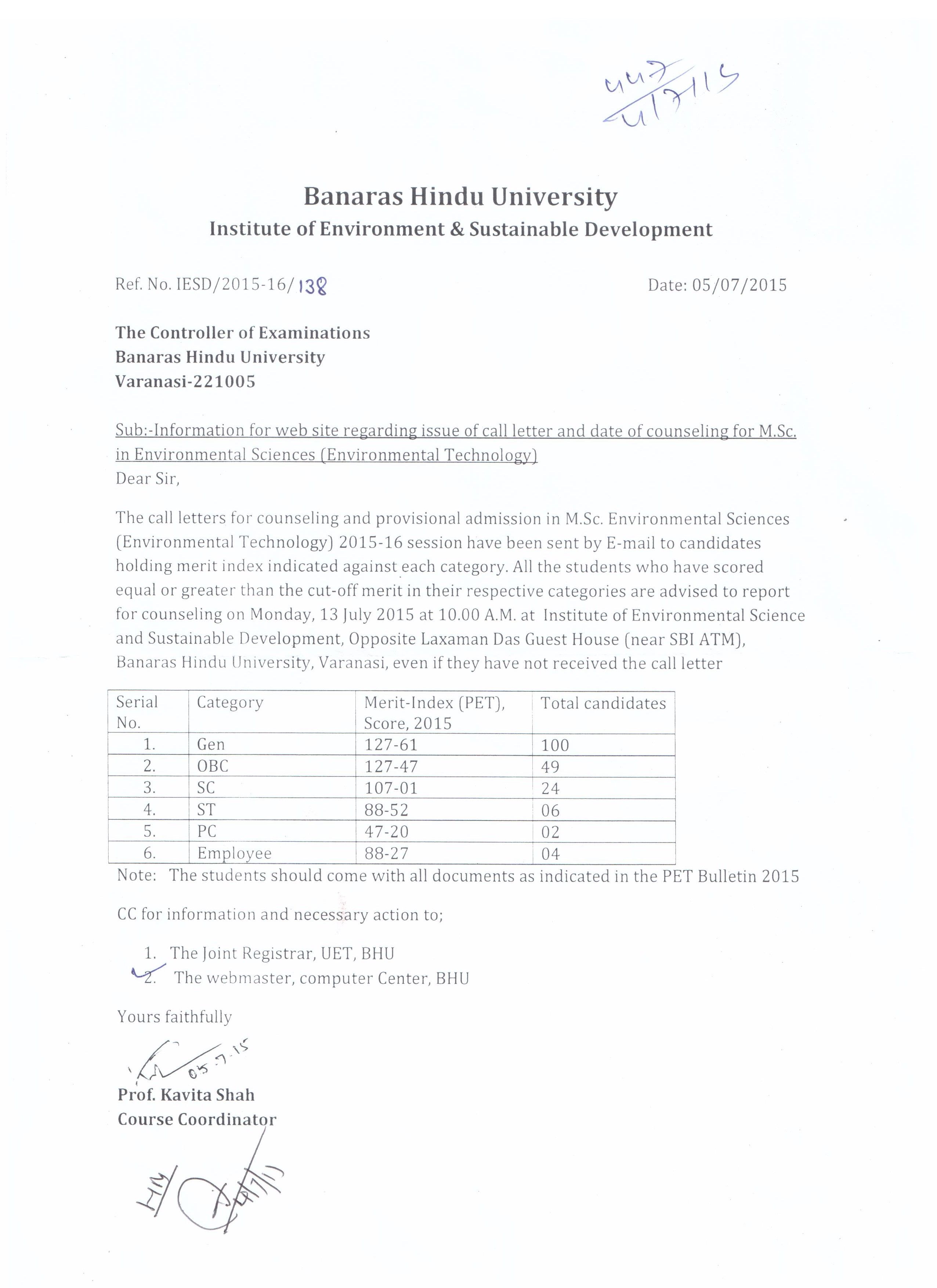 Banaras Hindu University, Faculty of Science, Department of Botany